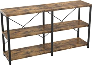 IRONCK Rustic Entryway Console Table, Long Hallway Table 55 in 3-Tier, TV Stand Entertainment Center Media Stand for Living Room, Industrial Style, Vintage Brown