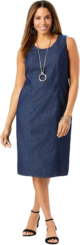 Jessica London Women's Max 54% OFF Plus Size Sheath 100% Dress Opening large release sale Denim Cotton