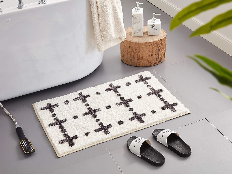 Desiderare Thick Fluffy Black and White Bathroom Rug   20