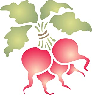 """Radish Stencil - (size 4.5""""w x 5""""h) Reusable Wall Stencils for Painting - Best Quality Vegetable Kitchen Stencil Ideas - Use on Walls, Floors, Fabrics, Glass, Wood, Terracotta, and More…"""