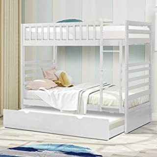 Twin Over Twin Bunk Bed, Rockjame Space Saving Design Sleeping Bedroom Furniture with Trundle Solid Wood Bunk Bed, Ladder and Safety Rail for Boys and Girls (White)