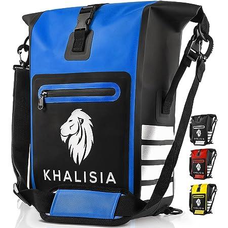 KHALISIA - 3in1 Fahrradtasche - wasserdichte Gepäckträgertasche - Fahrradrucksack mit Reflektoren - Nachhaltig - PVC Frei