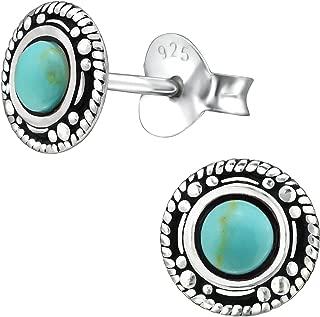 Femmes 925 Argent Turquoise créoles clip on vintage boucles d/'oreilles Mariage Bijoux Cadeau
