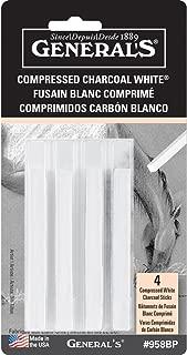 General Pencil Compressed Charcoal Sticks 4/Pkg-White - Soft Assorted (GP958-BP)
