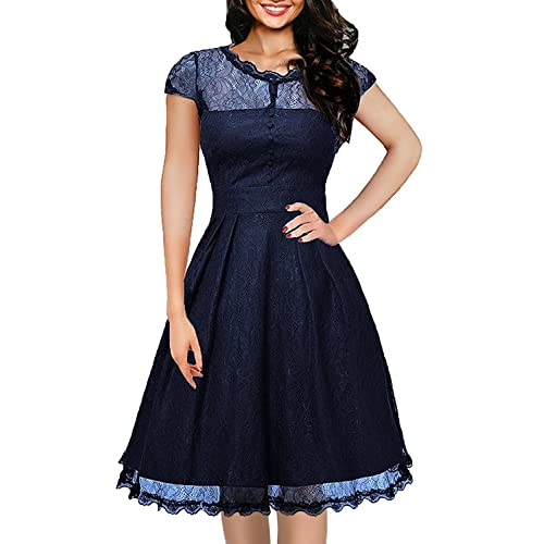 2cceebee6 ihot Women's Vintage 1950s Cap Sleeve Floral Lace A Line Shirt Swing Party  Dress