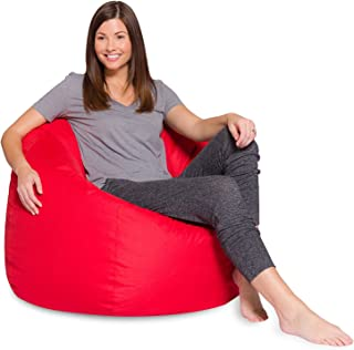 Big Comfy Bean Bag Chair: Posh Large Beanbag Chairs with Removable Cover for Kids, Teens and Adults - Polyester Cloth Puff Sack Lounger Furniture for All Ages - 35 Inch - Solid Red