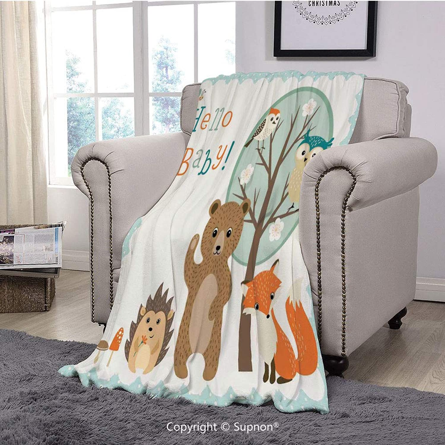 Throw Blanket Super Soft Fuzzy Light Blanket,Kids,Hello Baby Arrival Funny Hedgehog Bee Owls Birds on Tree Bear Fox Animals Themed Party Home Decor(51  x 51 )