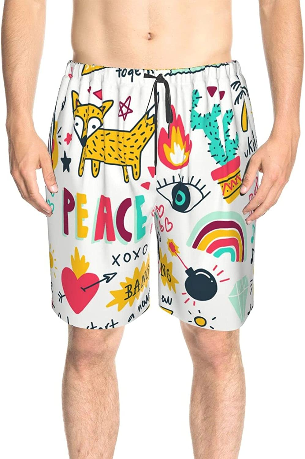 Men's Swim Shorts Fox Start A New Adventure Bathing Suit Boardshorts Quick Dry Cool Swimming Trunks with Lining