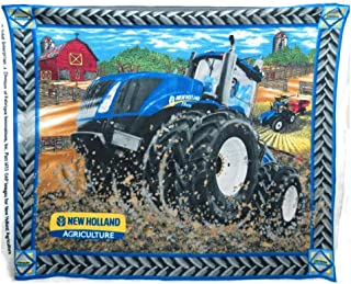 Panel New Holland Agriculture Tractor Farming Farmers Fleece Fabric Panel