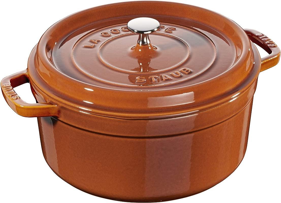 Staub 11026806 Cast Iron Round Cocotte 5 5 Quart Burnt Orange