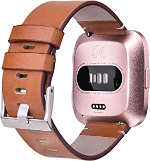 CAGOS Compatible Fitbit Versa Bands Women, Versa Leather Accessory Genuine Leather Band Wristband Strap Replacement for Fitbit Versa Smartwatch (Light Brown, Small)