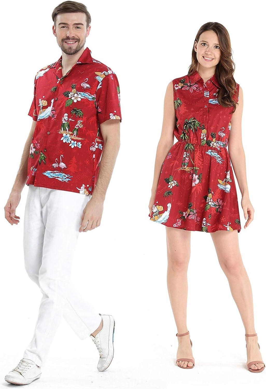 Couple Matching Hawaiian Luau Cruise Outfit Shirt Dress Christmas Santa in Hawaii Red