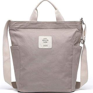 KIWITECH Tasche Canvas Damen Umhängetaschen groß Handtasche Damen Schultertasche Crossbody Bag Shopper für Schule Shopping...
