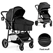 BABY JOY Baby Stroller, 2 in 1 Convertible Carriage Bassinet to Stroller, Pushchair with Foot Cover, Cup Holder, Large Storage Space, Wheels Suspension, 5-Point Harness (Black)