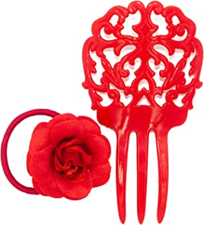 Ole Ole Flamenco Girl Comb for Hair Red with Hair Tie Flamenco Dancer Spanish Combs Peineta Flamenco Ornamental Hair Pins