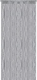 Arsvita Cortina de hilos (imitación de metal banda universal 140x 250cm, poliéster, plata, 140 x 250 cm