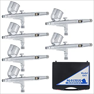 6 Pack Set of Multi-Purpose Precision Dual-Action Gravity Feed Airbrushes