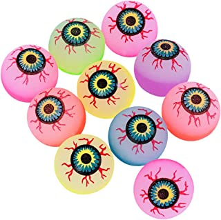 Lsmaa Halloween Bouncy Balls Scary Eye Balls 32mm Glow in the Dark Halloween Party Supplies (Random Color) - 10 pcs