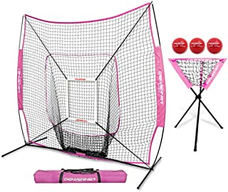 PowerNet DLX Combo 6 Piece Set for Baseball Softball   7x7 Practice Net Bundle w/Strike Zone, Ball Caddy + 3 Weighted Training Balls   Team or Solo Training   Hitting & Throwing