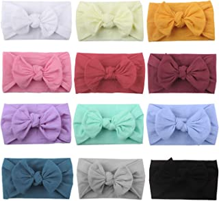 12 Pack Newest Super Stretchy Nylon Bow Turban Headbands Hairbands Headwraps for Baby Girls Toddlers Infants Newborns Kids