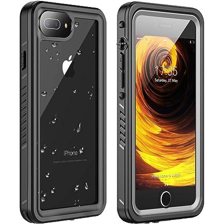 Huakay iPhone 7 Plus Waterproof Case, iPhone 8 Plus Waterproof Case Full Body Shockproof Sandproof Dirtproof IP68 Underwater Outdoor Waterproof Case for iPhone 7plus/8 Plus(Black/Clear)