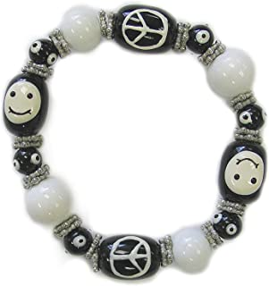 Linpeng IUP47-6 Fiona Hand Painted Smiley Face and Peace Glass Beads Stretch Bracelet, Black/White