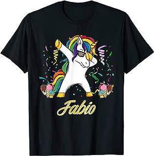 Fabio Name Personalized Custom Unicorn Dabbing Shirt Gift T-Shirt