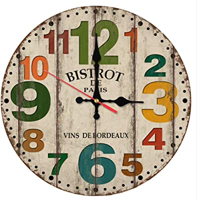 E Malloom Style Vintage Non Coutil Silencieuse Bois Antique Horloge Murale