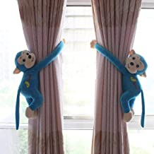 Velcro Closure Monkey Curtain Soft Toy Style Kids Room Tie Back (Pair of 30cm with 0-14cm Diameter)