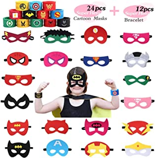 USA WOLF 36 PCS Superhero Party Masks & Superhero Slap Bracelet for Kids Baby - The Avengers Super Heroes Birthday Party Supplies Favors Children/Kids/Adults
