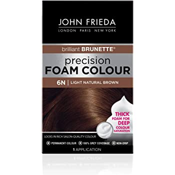 John Frieda Precision Foam Color, Light Natural Brown 6N, Full-coverage Hair Color Kit, with Thick Foam for Deep Color Saturation (16197)