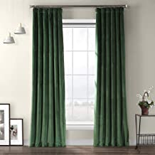 HPD Half Price Drapes VPYC-181427-84 Heritage Plush Velvet Curtain (1 Panel), 50 X 84, Eden Green
