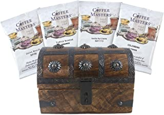 Coffee Trunk Valentine Gift Basket Set Gourmet Coffee Sampler 4 Blends in a 6.5 x 4.5 x 4.5 Wooden Chest by Well Pack Box