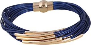 D EXCEED Multi Row Magnetic Clasp Bangle Bracelet for Women and Ladies 6 Colors