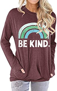 IRISGOD Womens Be Kind Tank Tops Casual Short Sleeve Rainbow Inspirational Graphic Tees Tops