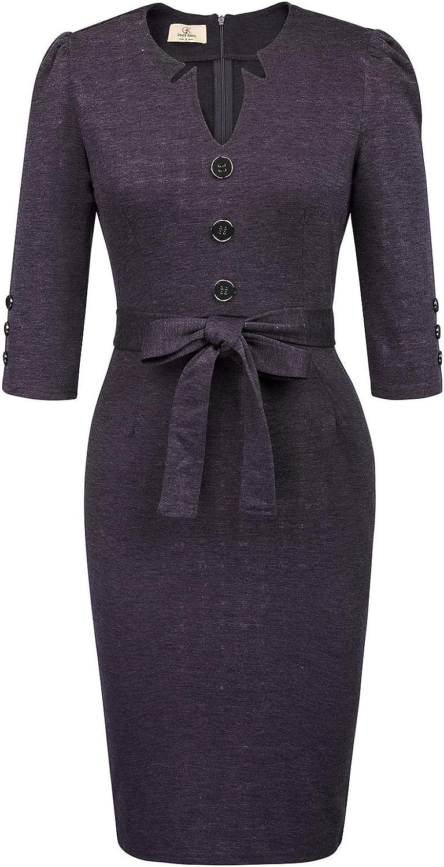 GRACE KARIN Women Retro 3/4 Sleeve Work Office Business Pencil Dress with Belt