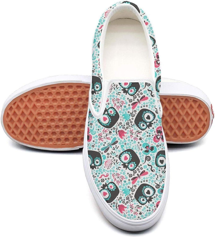 Beautiful Skull Cute Cartoon Heart Slip On Canvas Upper Sneakers Canvas shoes for Women Lightweight