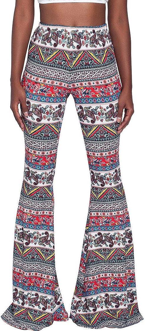 Ceemon Women's Ethnic Super Long High Waist Bell Bottom Leggings Pants