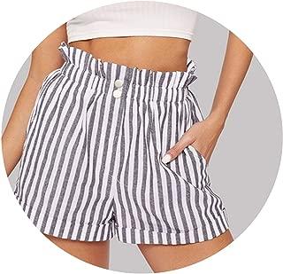 Elegant Elastic Waist Slant Pocket Striped 2019 Straight Leg Casual Shorts