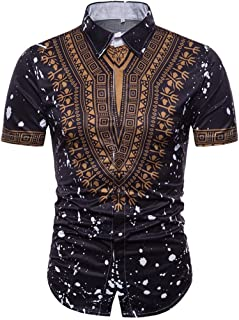 Longay Men's African Buttons Shirt Slim Fit Short Sleeves Shirts Formal Top Blouse