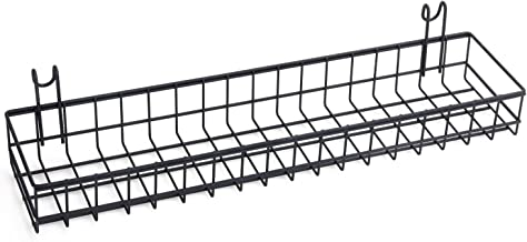 Kaforise Hanging Basket for Wire Wall Grid Panel, Multi-function Wall Storage and Display Basket, Medium Size, Black Painted