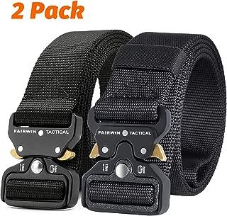 Fairwin Tactical Belt, 2 PCS 1.5 Inch Military Style Nylon Web Belt Mens Belt with Heavy-Duty Quick-Release Buckle