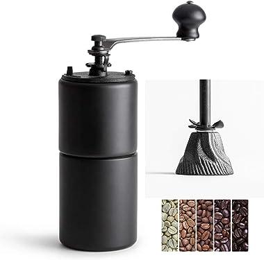 Akirakoki Manual Coffee Bean Grinder Wooden Mill with Cast Iron Burr, Large Capacity Hand Crank, Portable Travel Camping Adju