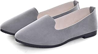 Slduv7 Women Comfortable Flat Ballet Shoes Gray 42(9)