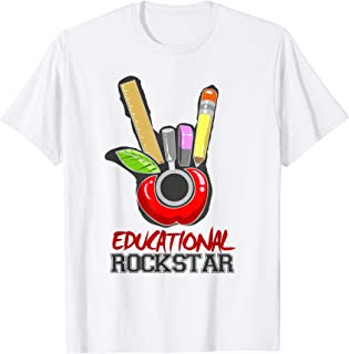 Cool Educational Rockstar Hand Horn Sign TShirt Teachers