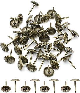 Robell 200 Stks Bekleding Tacks Nail Antieke Thumbtack Push Pin Meubels Decoratieve Pins Bloem-Patroon Hoofd Nail voor Vas...