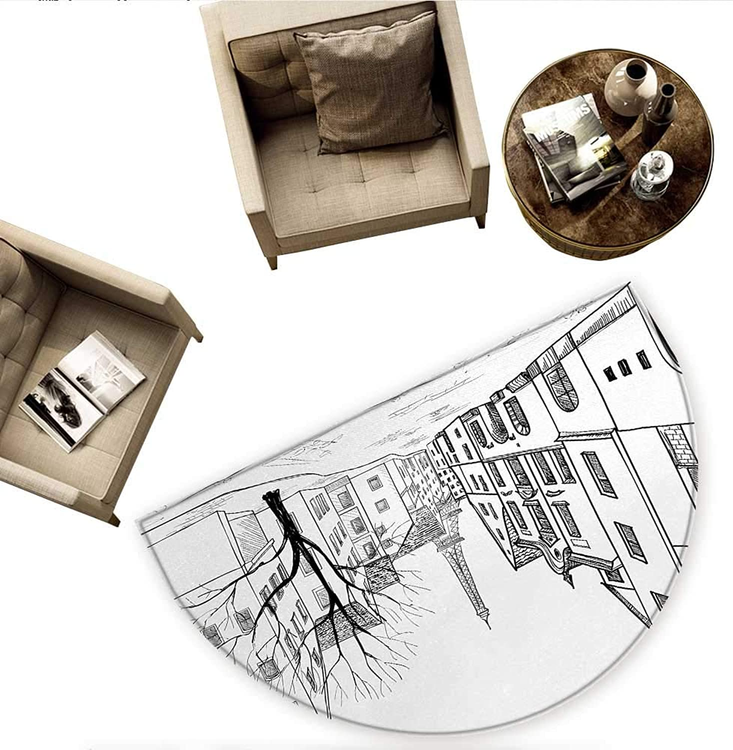 Cityscape Semicircular CushionParis Street with Houses Buildings and Tree on Alleyway Eiffel Tower Background Entry Door Mat H 59  xD 88.6  Black White