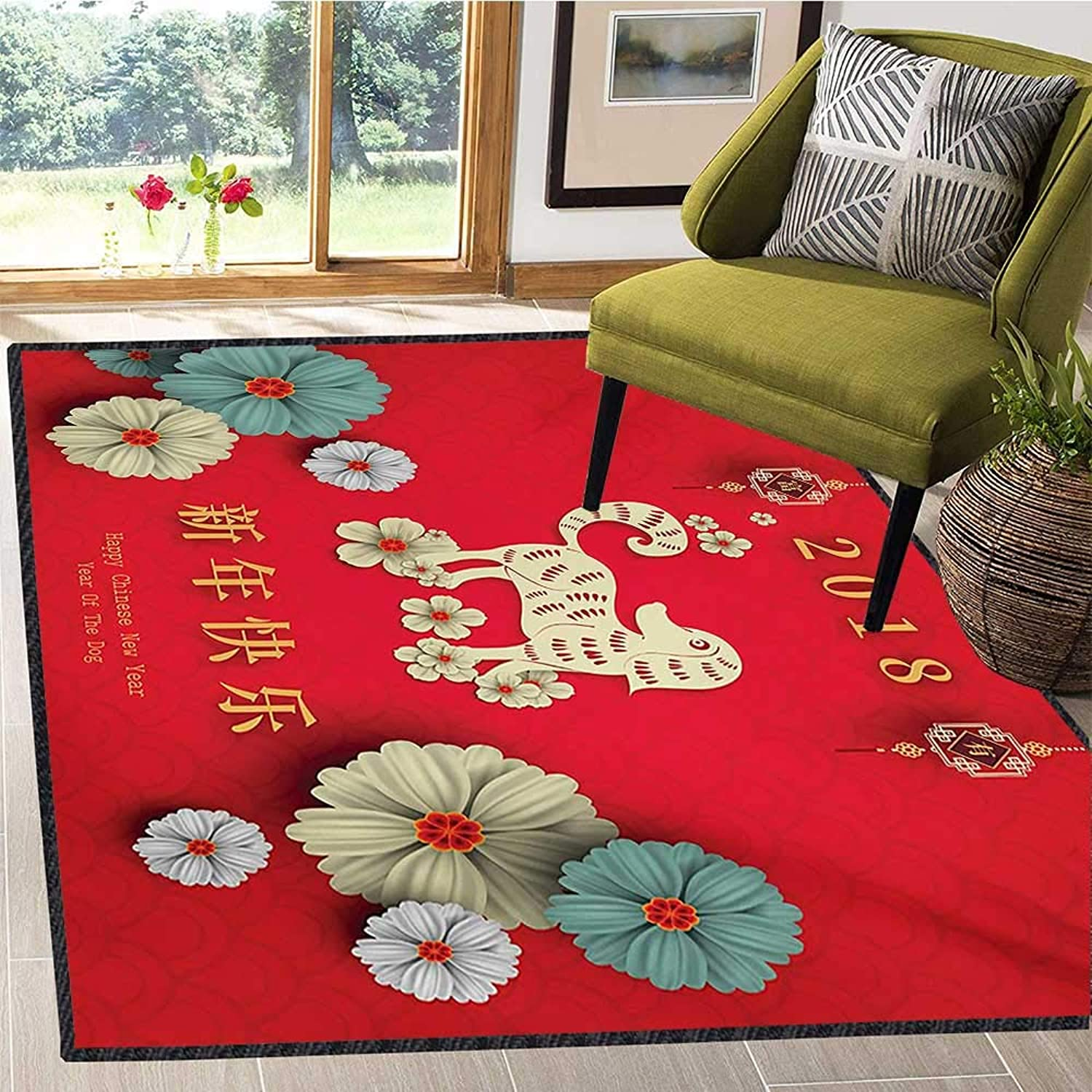 Year of The Dog, Floor Mat for Kids, Floral Arrangement with Far Eastern Lunar Calendar Pattern 2018 New Year, Door Mats for Inside Non Slip Backing 5x8 Ft Multicolor