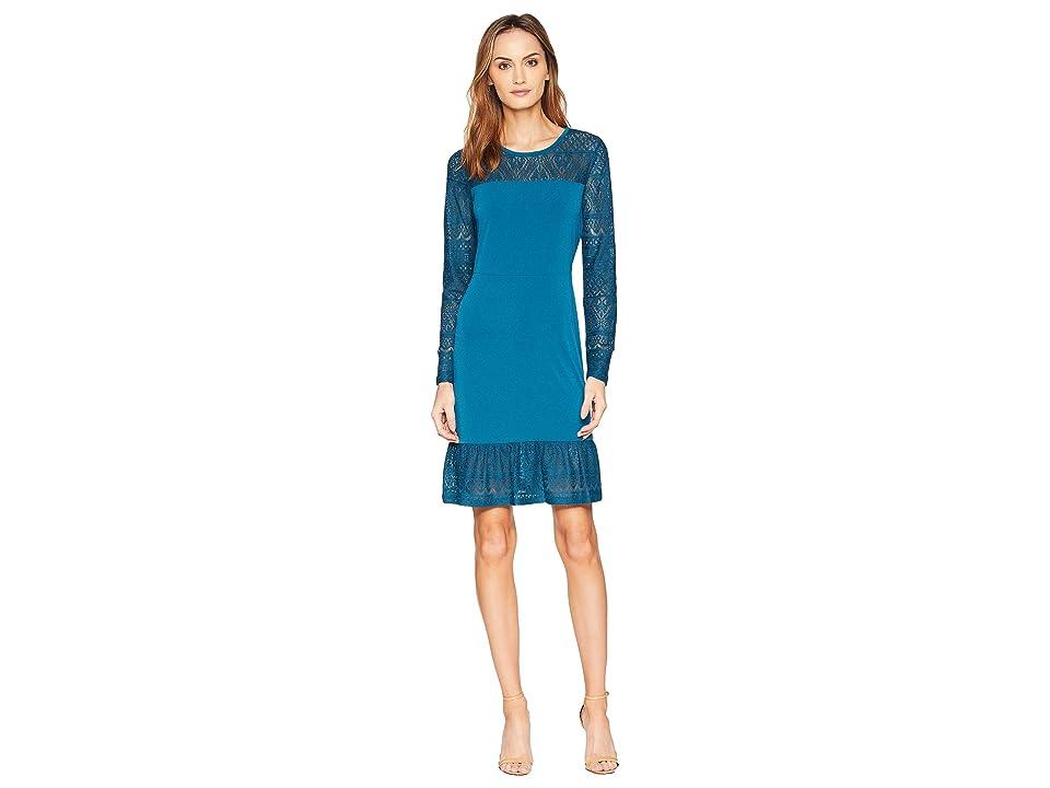 MICHAEL Michael Kors Fabric Mix Long Sleeve Dress (Luxe Teal) Women