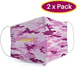 Steinbock7 2 STK Stoffmaske waschbar mit Gummischnüren, 2er Set, Made in EU, Camouflage Design Survive in Style, Pink